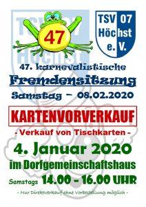 Kartenvorverkauf zur 47. Fremdensitzung 2020 @ Dorfgemeinschaftshaus Höchst