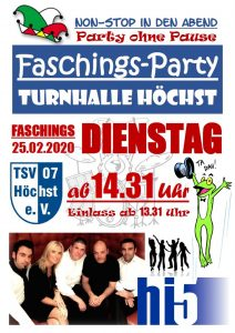 Faschingsdienstags-Party 2020 @ Turnhalle Igelsgrund-Schule